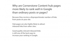 Cornerstone Content hub pages organize your content in a way Google loves