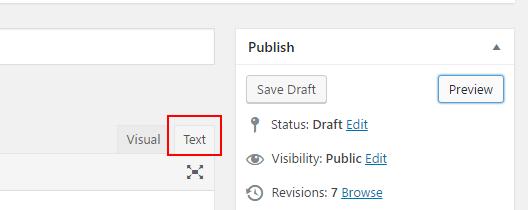 The WordPress text view tab