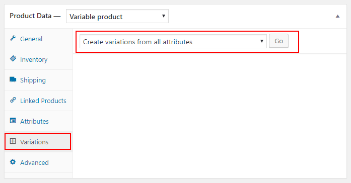 Create Variations from all attributes when making WooCommerce variable products