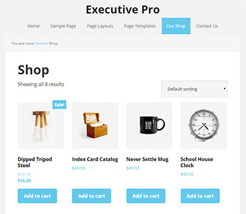 The shop page in Executive Pro StudioPress theme for WooCommerce