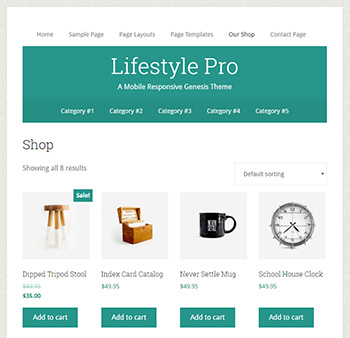 The shop page in Lifestyle Pro StudioPress theme for WooCommerce
