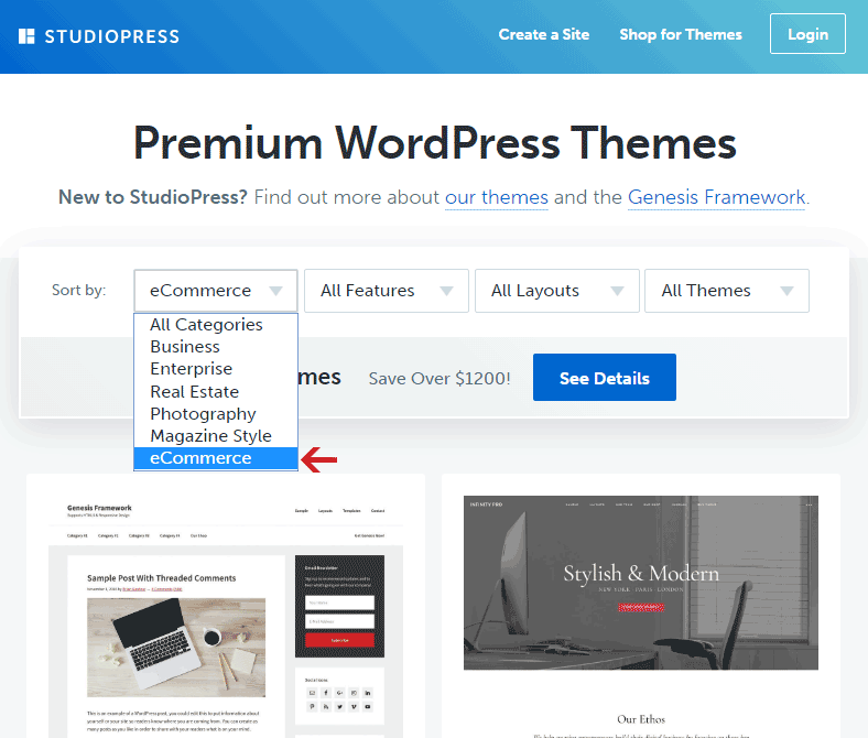 Sort Studio Press themes by eCommerce