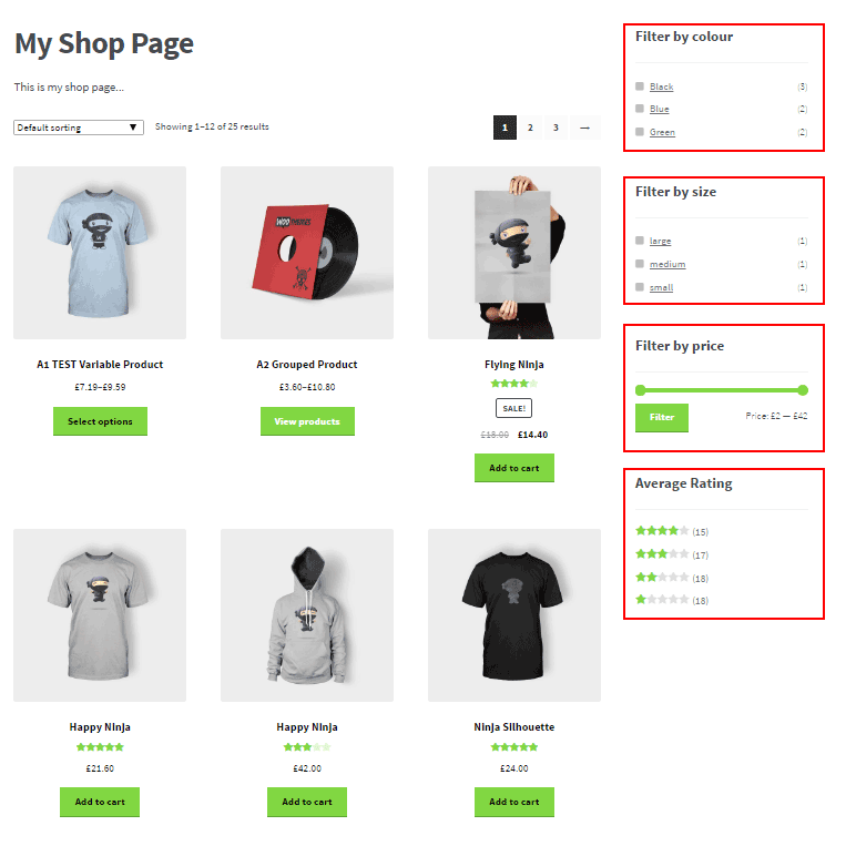 WooCommerce Widgets and filters of color and size