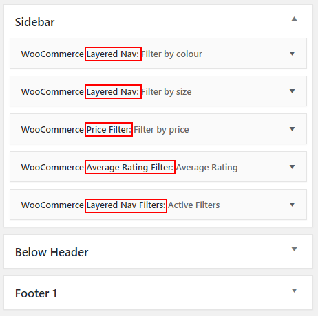 WooCommerce widgets in the sidebar