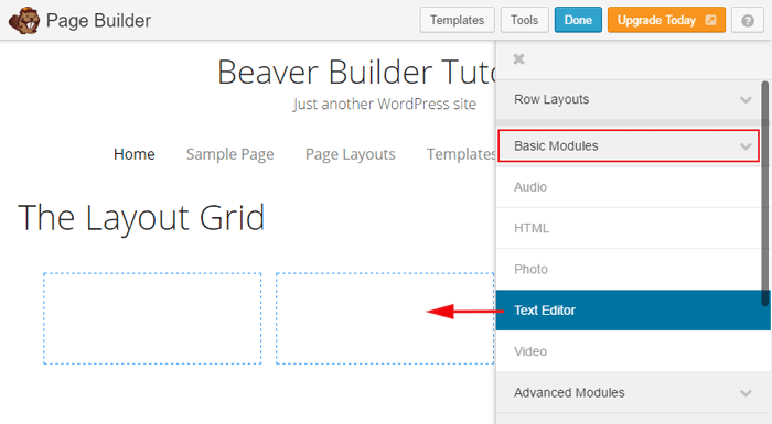 Dragging modules into the web page using Beaver Builder