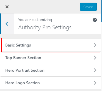 Authority Pro basic settings tab