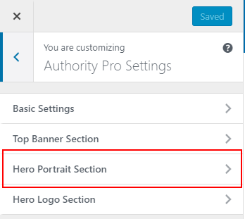 Authority Pro settings hero portrait section