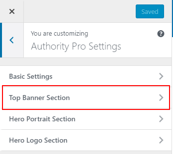 Authority Pro settings top banner section