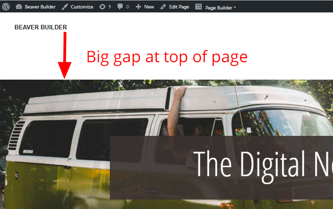 Beaver Builder big gap at top of page