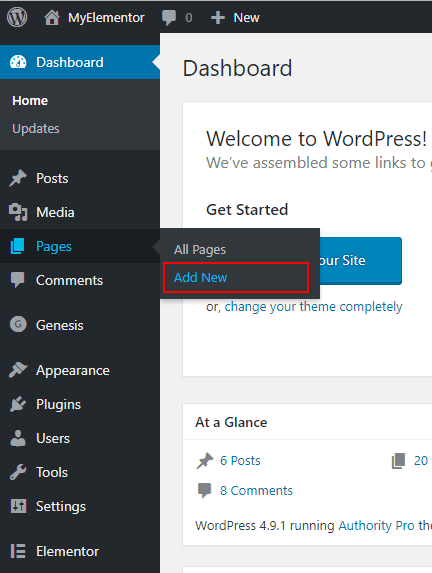 Add a new page to WordPress