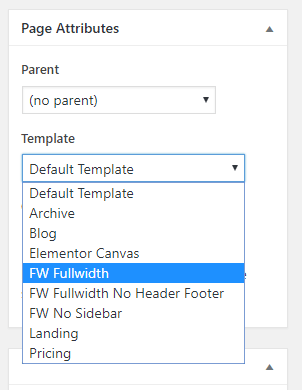 In page attributes set the template to FW Fullwidth
