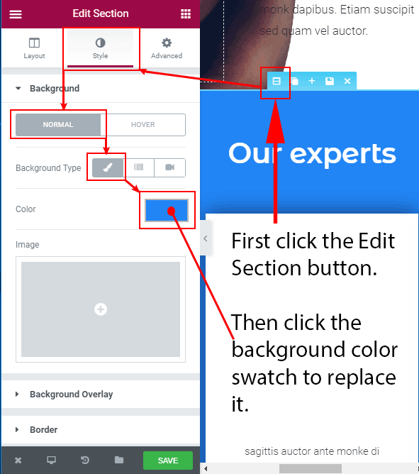 Replace a background color in Elementor