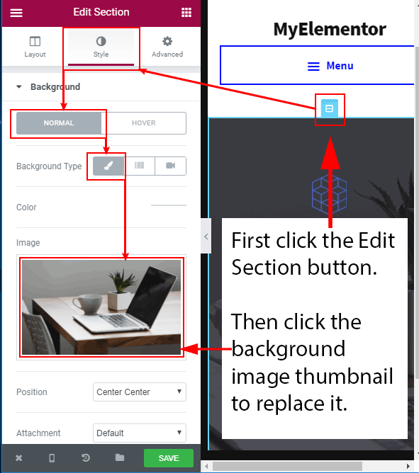 Replace a background image in Elementor