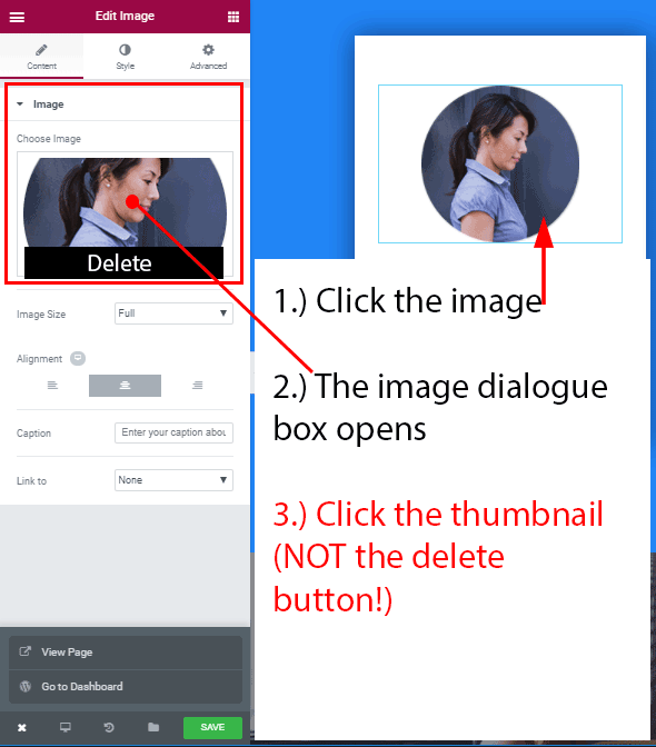 Replacing an image in Elementor