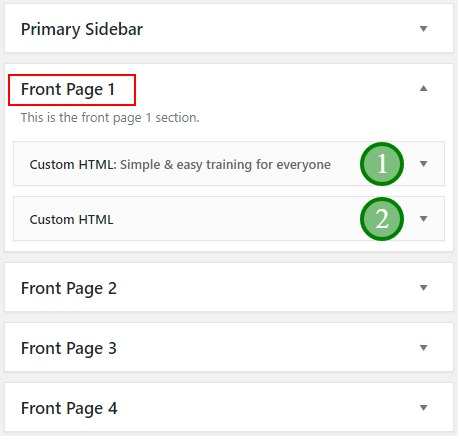 The content of Front-Page-1 widget area in Academy Pro theme
