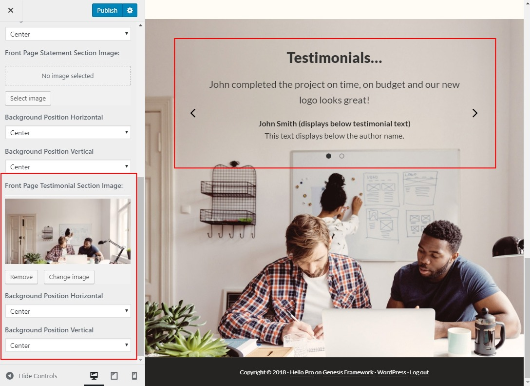 Add a background image for the testimonials widget area