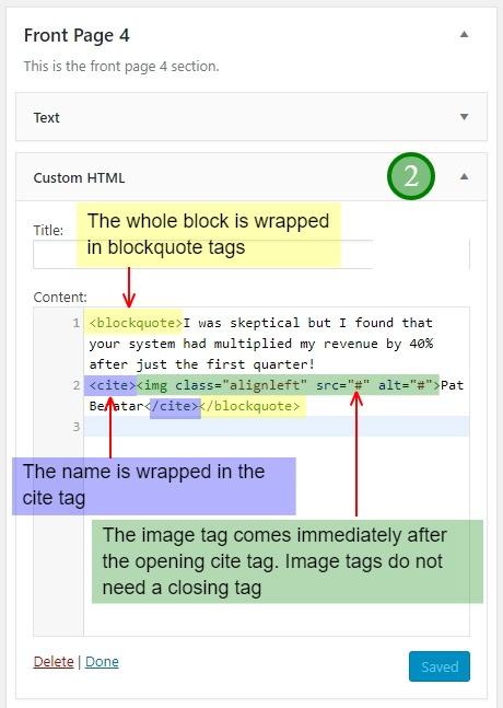 Custom HTML widget in Front-Page-4 widget area of Academy Pro theme