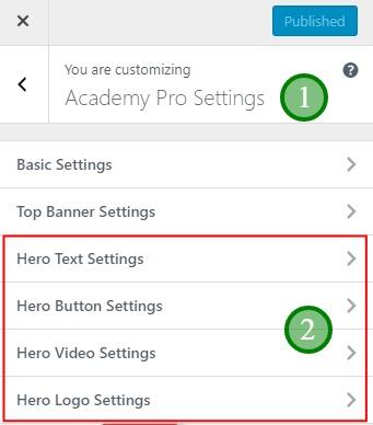 The Academy Pro Hero tabs