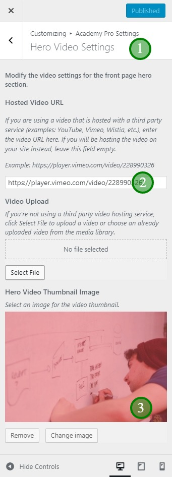 The Hero Video Settings in Academy Pro theme