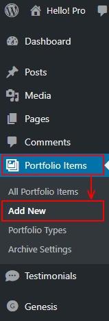 Dashboard Portfolio Items Add New