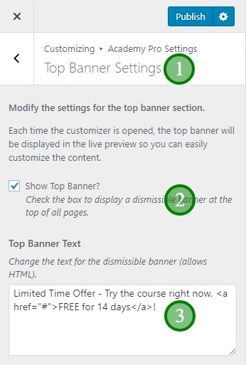 Top Banner settings in Academy Pro theme
