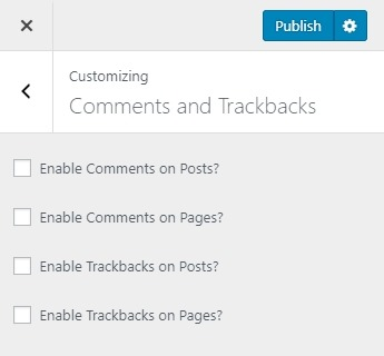 Academy Pro Customizer Comments and Trackbacks