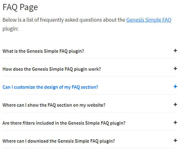 Genesis FAQ Plugin Screenshot