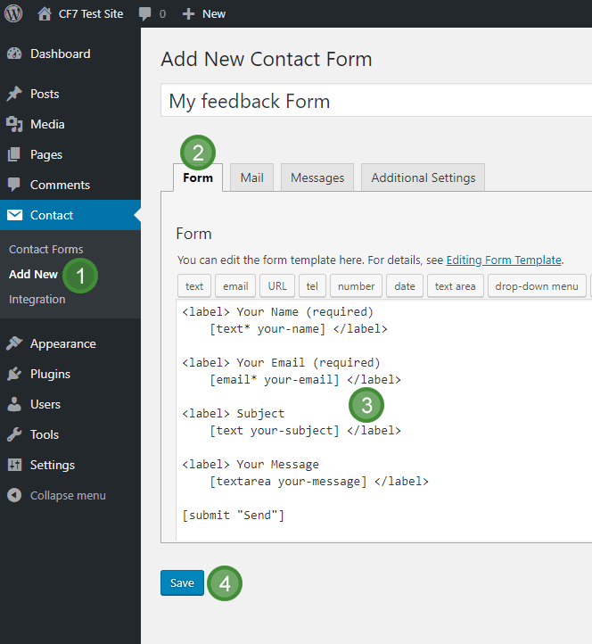 The Add New Form dialogue in Contact Form 7