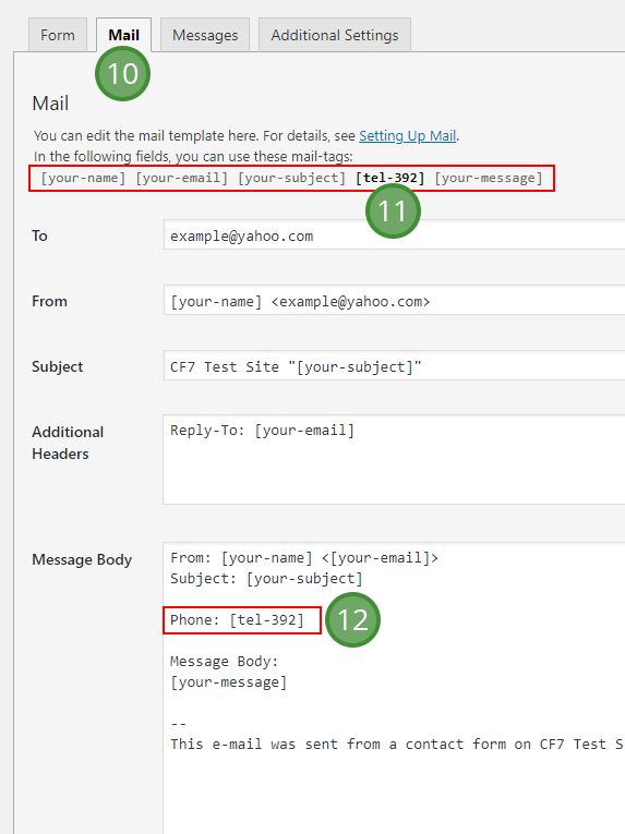 Add the Contact Form 7 shortcodes to the mail tab