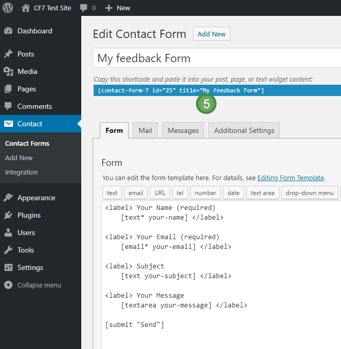 Contact Form 7 blue bar with form shortcode