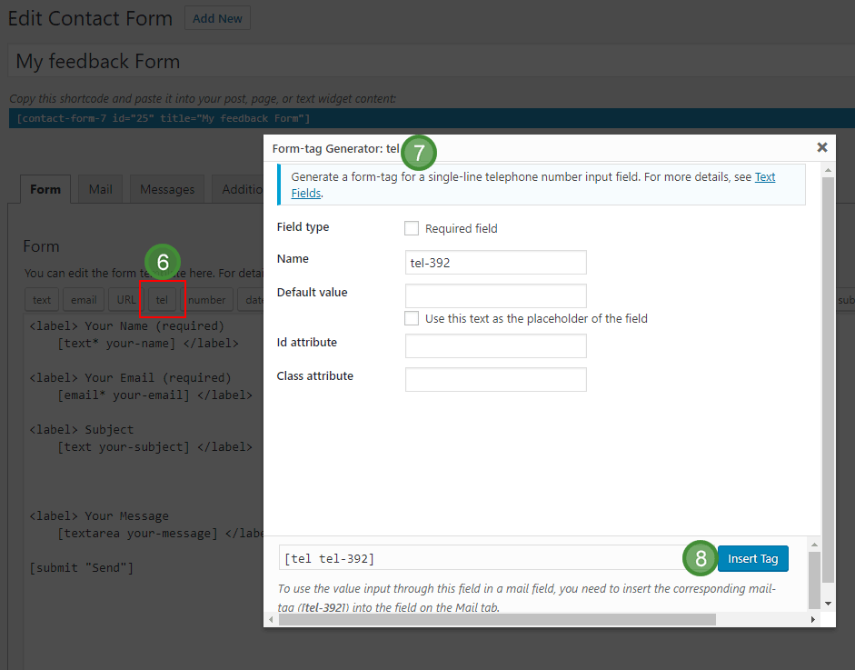 The form tag generator dialogue in Contact Form 7