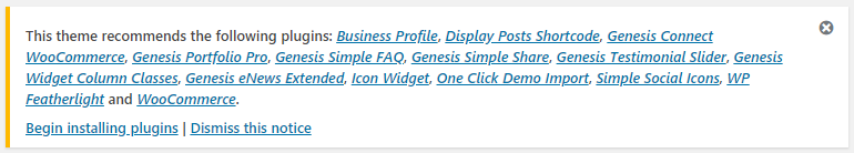 Plugins recommended for Business Pro theme