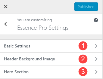 The three sub tabs in Essence Pro Customiser Settings
