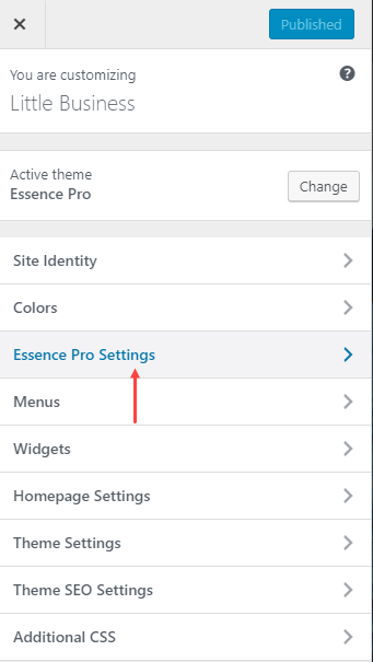 Essence Pro Customiser Settings