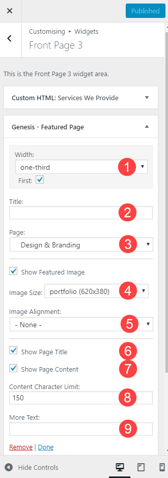 The Featured Page widget settings for Front Page 3 widget area in Business Pro theme