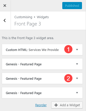Front Page 3 widget area contains a custom HTML widget and three Genesis Featured Page widgets