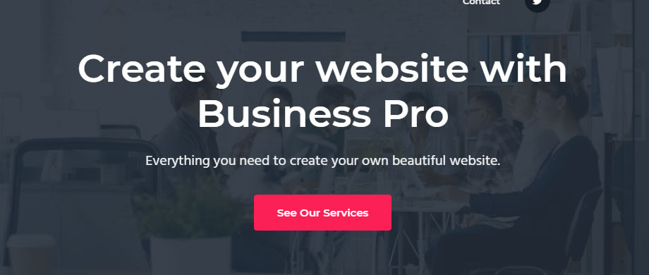 Header area of Business Pro theme front page 1