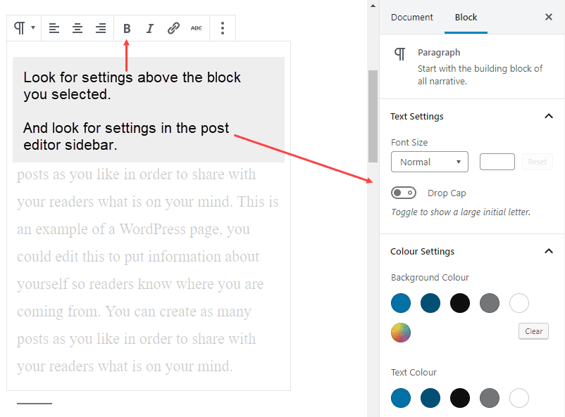 After selecting a block, look in the post editor sidebar to see if there are any additional settings available.