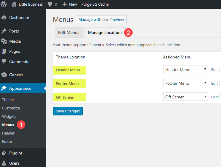 Manage Menu Locations in Essence Pro theme