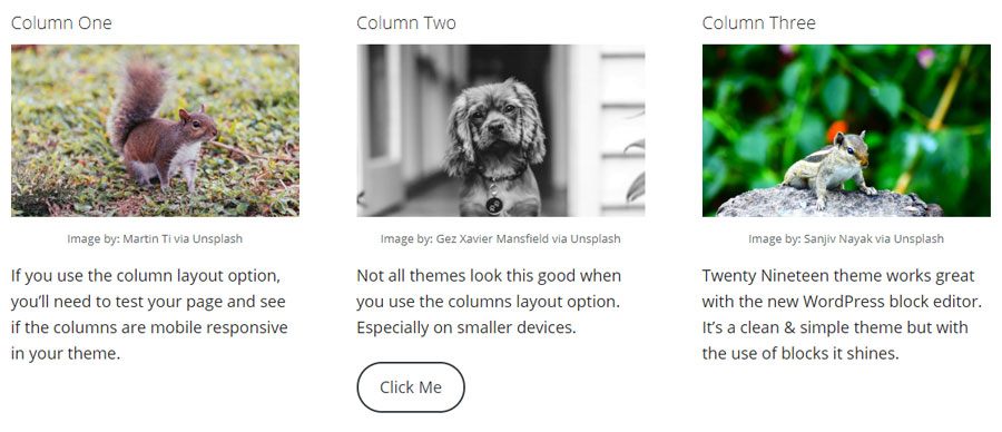 Screenshot of a three column layout taken from a Gutenberg enabled page.