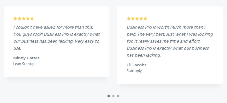 The Testimonials slider in Front Page 6 widget area of Business Pro theme