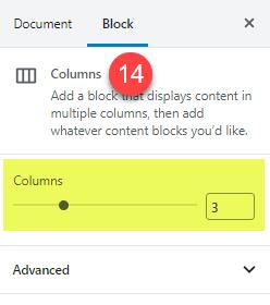 The columns block set to display 3 columns