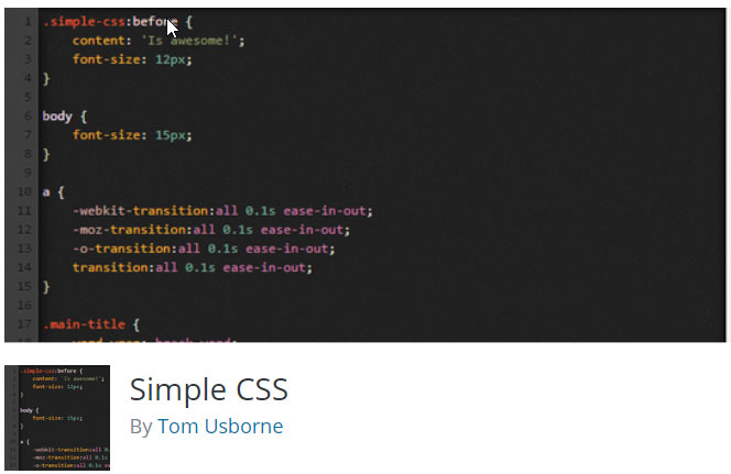 The Simple CSS plugin.