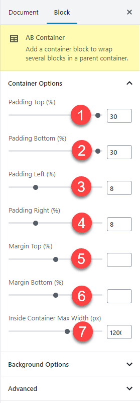 The Atomic Blocks Container margin padding and inner width settings