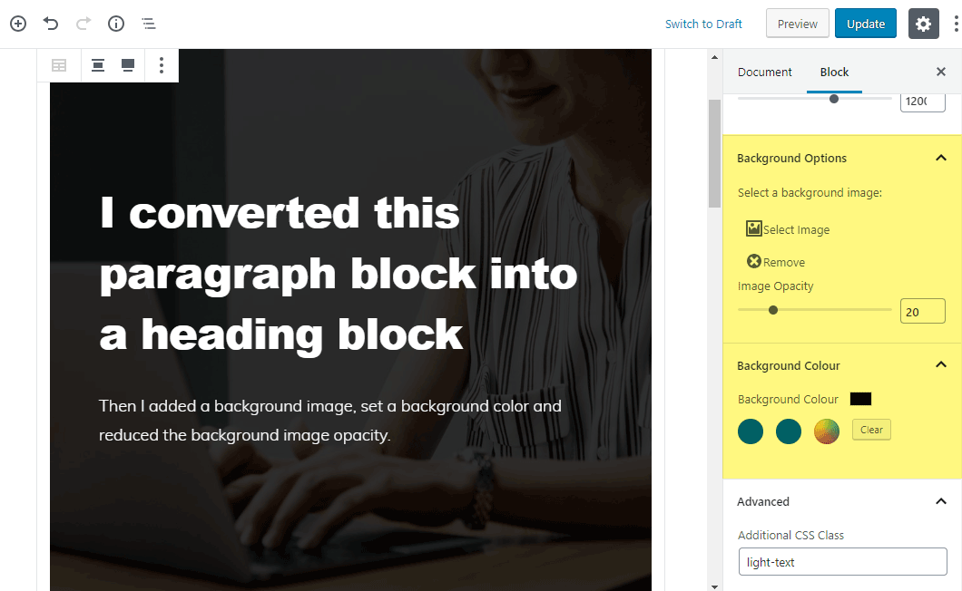 Adding a background image to a container block