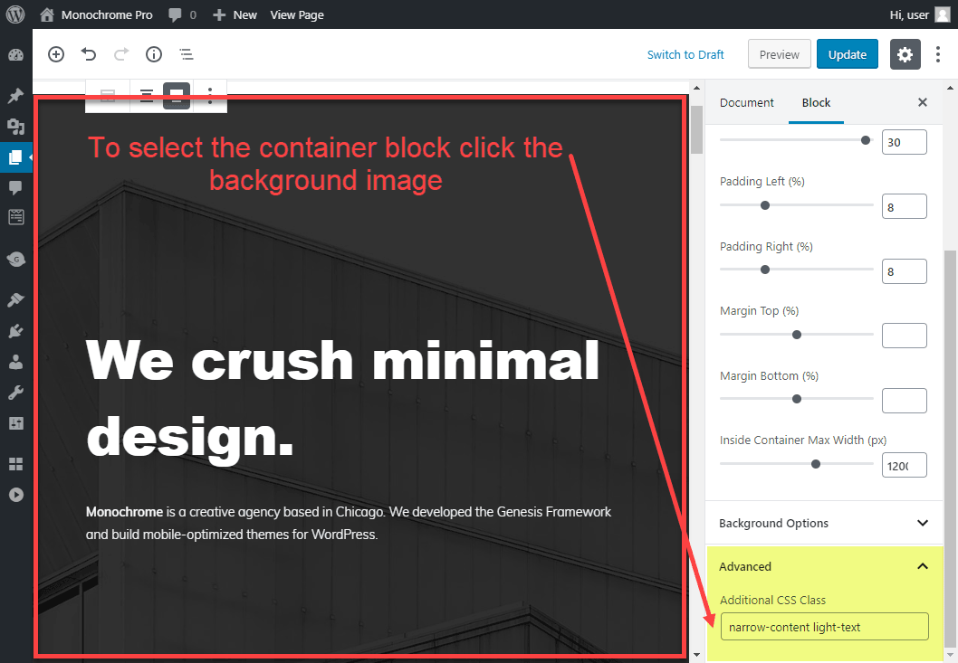 The narrow-content CSS class is applied to the first container block. The light-text CSS class is applied to container blocks that have a dark photo background.