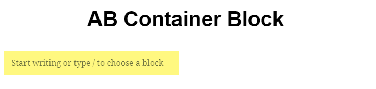 When you make a new page the first block is ready to use