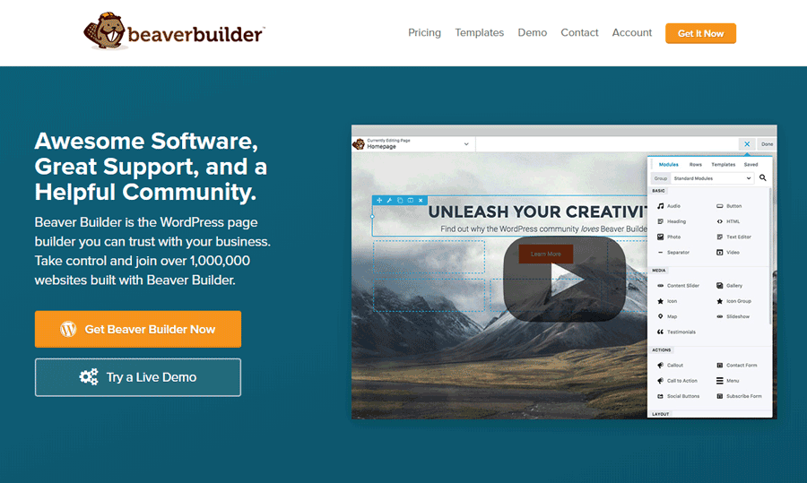 Beaver Builder helps you design your own homepages.
