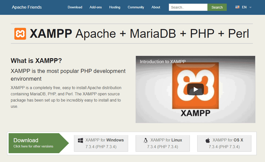 XAMPP is a free localhost web server