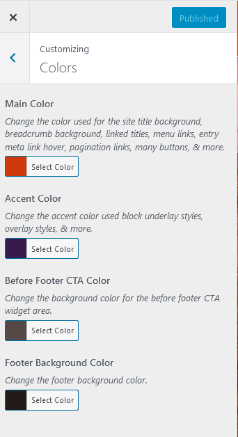 Customize Navigation Pro colors via the customizer